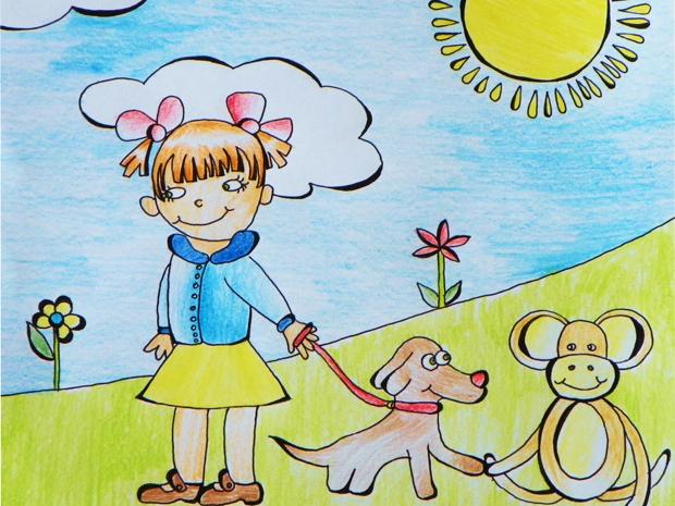 Šuniukas, mergaitė ir beždžionėlė