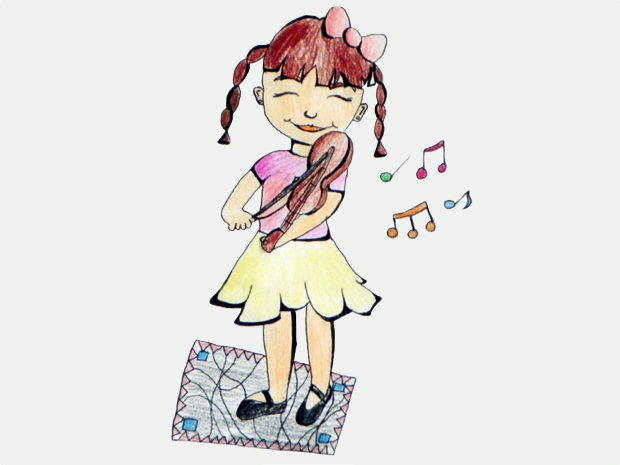 Mergaitė ir smuikas