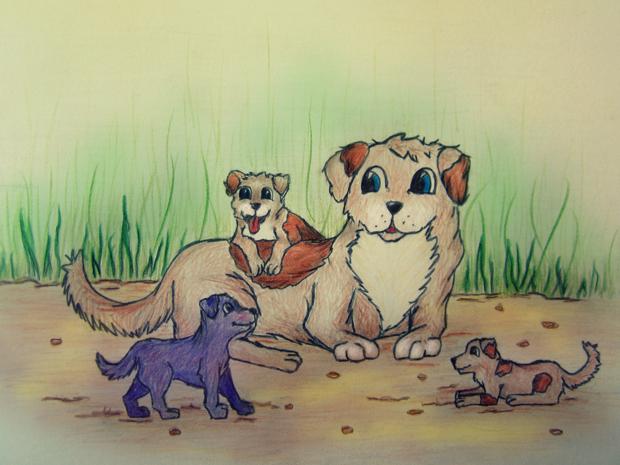 Violetinis šuniukas