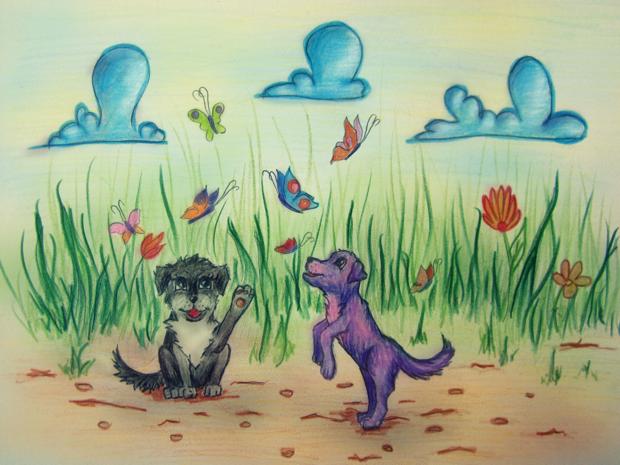 Violetinis šuniukas ir drugeliai